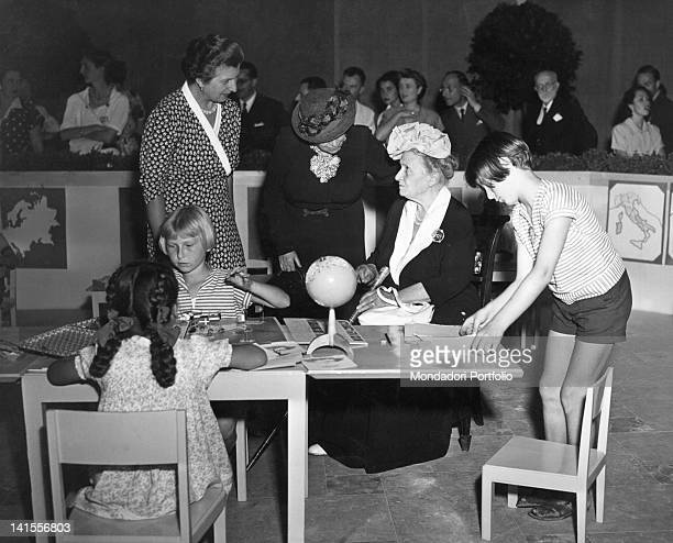 The Italian pedagogue Maria Montessori and undersecretary Maria Jervolino taking part in a demonstrative meeting Sanremo 1940s