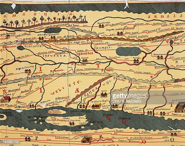 The Italian peninsula taken from the Peutinger Table copy from the Middle Ages of the third century Roman original 12th13th century Plate detail