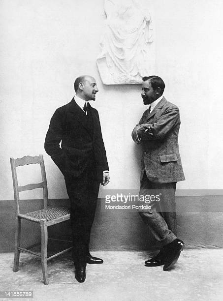 The Italian poet and writer Gabriele D'Annunzio talking with the poet Cesare Pascarella Florence 1907