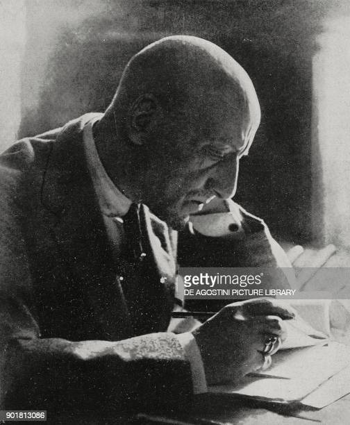 The Italian poet Gabriele D'Annunzio at his work table from L'Illustrazione Italiana Year LIV No 36 September 4 1927