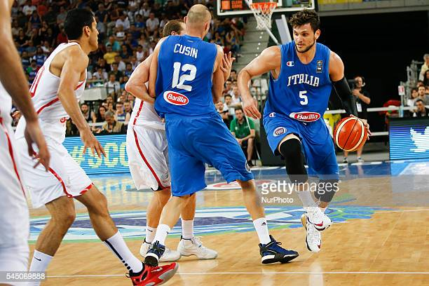 The italian point guard Alessandro Gentile during the match between Italy and Tunisia at 2016 FIBA Olympic Qualifying Tournament in Turin Italy on 4...