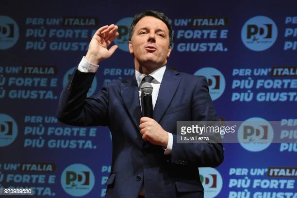 The Italian politician and leader of the Democratic Party Matteo Renzi holds a political rally on February 24 2018 in Livorno Italy The former mayor...