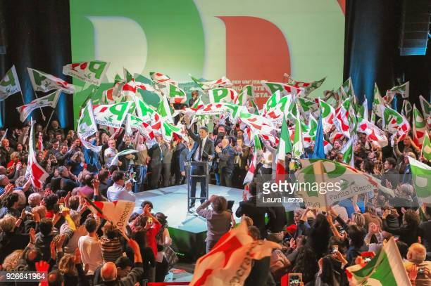 The Italian politician and leader of the Democratic Party Matteo Renzi closes the electoral campaign on March 2 2018 in Florence Italy The former...