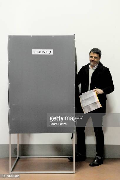 The Italian politician and leader of the Democratic Party Matteo Renzi casts his vote for the parliamentary elections on March 4 2018 in Florence...