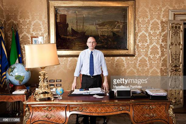 The Italian politician Enrico Letta President of the Council of Ministers of the Italian Republic posing in his private office Rome Italy July 2013