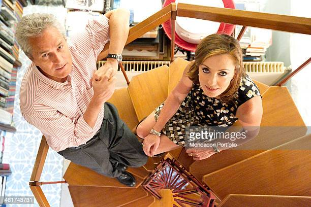The Italian politician Francesco Rutelli and his wife Barbara Palombelli pose on winding staircase in their house in Rome Italy 28th April 2011