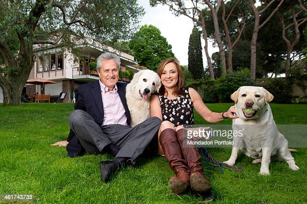 The Italian politician Francesco Rutelli and the journaist Barbara Palombelli with their dogs Appia and Camilla in the garden of their house in Rome...