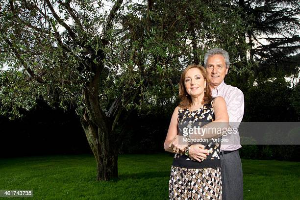 The Italian politician Francesco Rutelli embraces his wife the italian journalist Barbara Palombelli in the garden of their house in Rome Italy Rome...