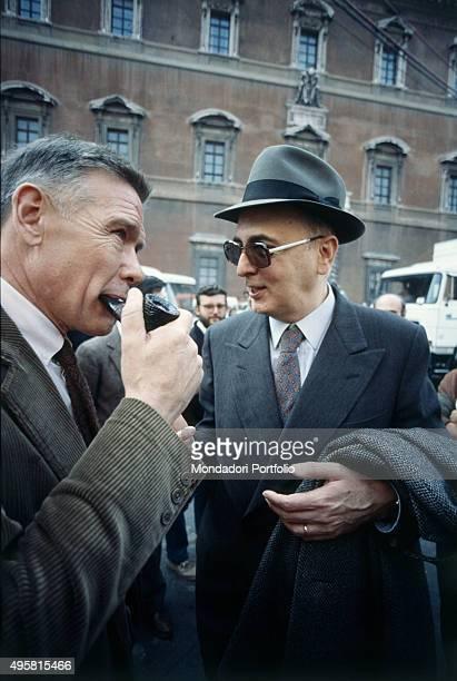 The Italian politician Giorgio Napolitano talking with the Italian syndicalist Bruno Trentin Rome 1980s
