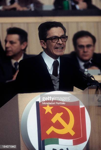 The Italian politician leader of the Italian Communist Party Enrico Berlinguer speaking at a meeting 1984