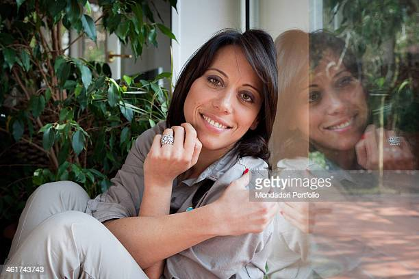 The Italian politician Nunzia De Girolamo smiles in her house in Benevento wearing the engagement ring a gift of her boyfriend Franscesco Boccia...