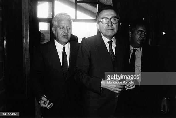 The Italian politicians Giulio Andreotti walking together with Salvo Lima and Giuseppe Ciarrapico Fiuggi 1983