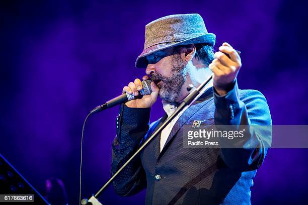 The Italian pop singer and songwriter Diego Mancino pictured on stage as he performs live Tenco Festival 2016 at Teatro Ariston in Sanremo