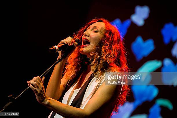 The Italian pop singer and songwriter Marina Rei pictured on stage as she performs live Tenco Festival 2016 at Teatro Ariston in Sanremo