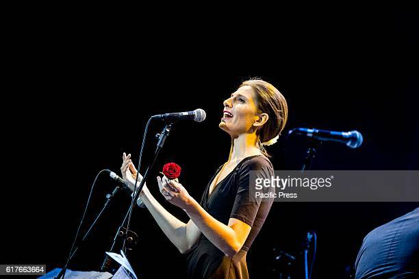 The Italian pop singer and songwriter Vanessa Tagliabue Yorke pictured on stage as she performs live Tenco Festival 2016 at Teatro Ariston in Sanremo