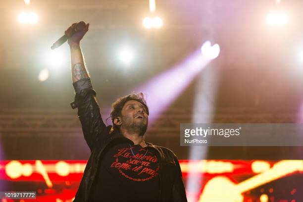 The italian pop singer Fabrizio Moro on stage as he performs at D'Annunzio theater in Pescara Italy August 18 2018