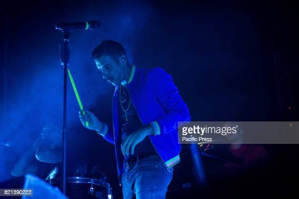 The Italian pop singer Francesco Gabbani pictured on stage as he performs at Parco del Castello di Grazzano Visconti Piacenza