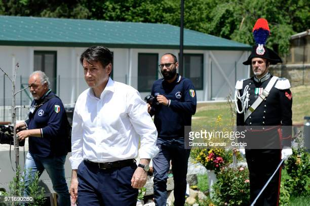 The Italian premier Giuseppe Conte visiting the areas of the earthquake of August 24 on June 11, 2018 in Amatrice, Italy.