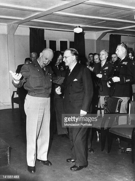 The Italian President of the Council Alcide De Gasperi meeting General Dwight Eisenhower chief of the US armed forces Washington 1951