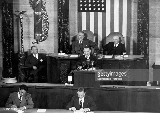 The Italian President of the Council Alcide De Gasperi speaking before the Congress of the United States of America during his visit to America...