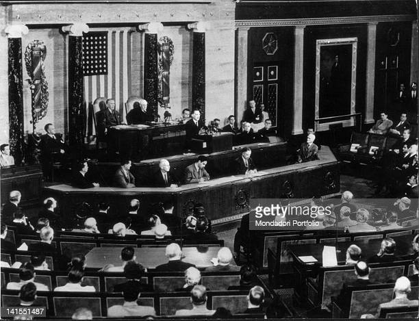 The Italian President of the Council Alcide De Gasperi speaking to the Congress of the United States of America during his visit to America...