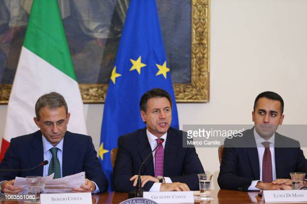 The Italian President of the Council Giuseppe Conte and the ministers Sergio Costa and Luigi Di Maio during the press conference for the Land of...