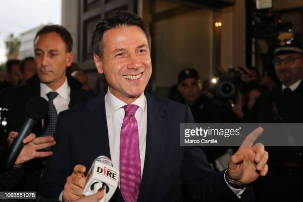 The Italian President of the Council Giuseppe Conte before the press conference for the Land of Fires at the Prefecture of Caserta