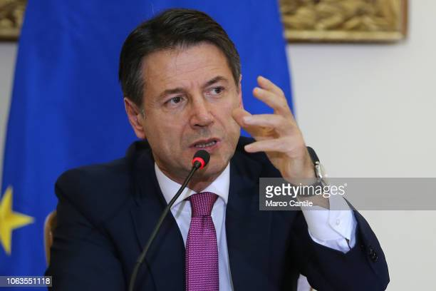 The Italian President of the Council Giuseppe Conte during the press conference for the Land of Fires at the Prefecture of Caserta