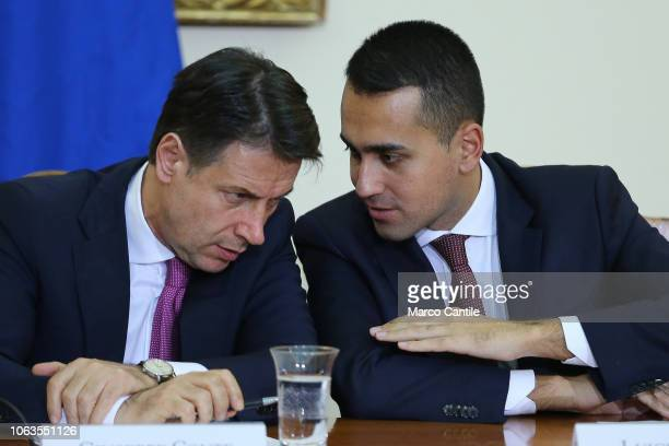 The Italian President of the Council Giuseppe Conte with italian minister Luigi Di Maio during the press conference for the Land of Fires at the...
