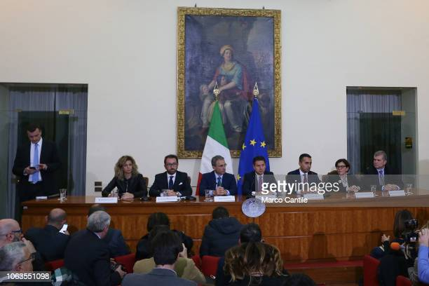 The Italian President of the Council Giuseppe Conte with ministers during the press conference for the Land of Fires at the Prefecture of Caserta