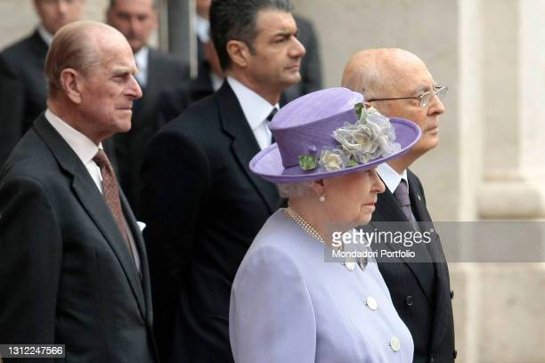 The Italian President of the Republic Giorgio Napolitano meets the Queen of United Kingdom of England and North Ireland, Elisabeth II and his...