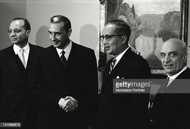 The Italian Prime Minister Aldo Moro and the Italian Minister of Foreign Affairs Amintore Fanfani attending an official meeting in New York New York...