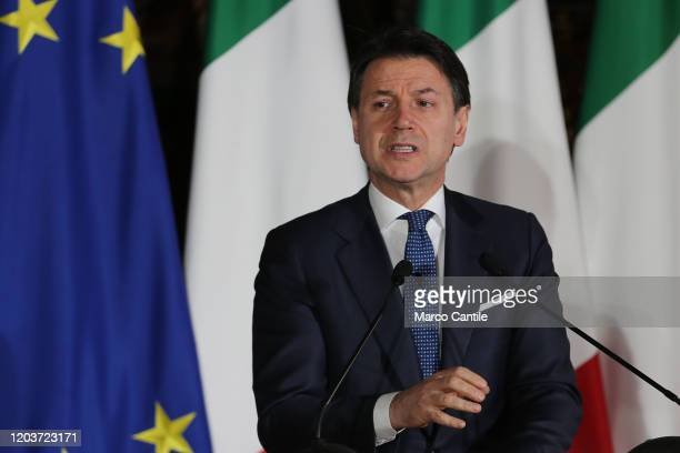 The Italian Prime Minister Giuseppe Conte, during the press conference for the Italian-French summit in Naples.