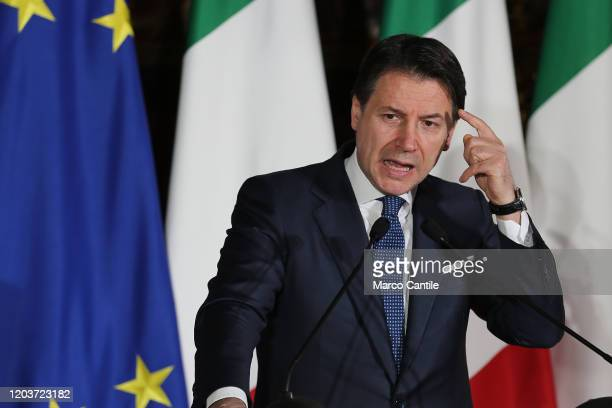 The Italian Prime Minister Giuseppe Conte during the press conference for the ItalianFrench summit in Naples