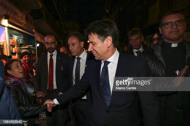 The Italian Prime Minister Giuseppe Conte visiting the Forcella district of Naples