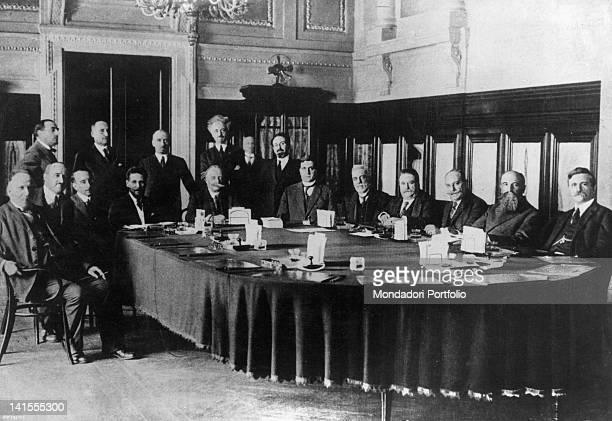 The Italian Prime Minister Luigi Facta chairing the first cabinet meeting of his second ministry Rome August 1922