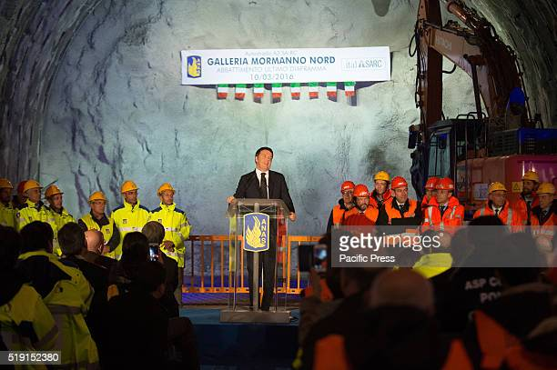 The Italian Prime Minister Matteo Renzi in Mormanno southern Italy for the inauguration of the new tunnel on the highway A3 SalernoReggio Calabria