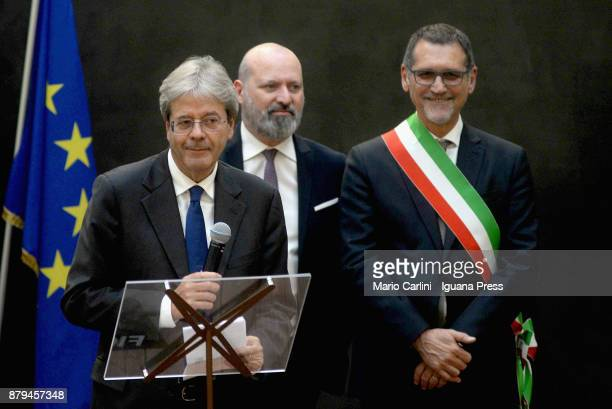 The italian Prime Minister Paolo Gentiloni holds his speech with Stefano Bonaccini President of Emilia Romagna region and Virginio Merola Mayor of...