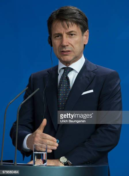 The Italian Prtime Minister Giuseppe Conte for talks with Federal Chancellor Angela Merkel in Berlin Giuseppe Conte during his press statement