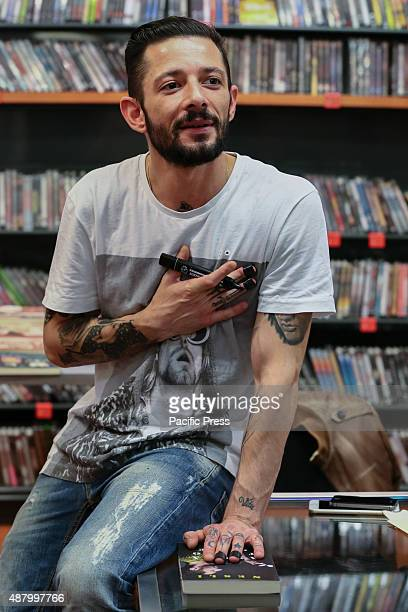 """The Italian rapper and songwriter Francesco Tarducci, also known as """"Nesli"""", meet his fans at Mondadori bookshop to sign autographs of his first..."""