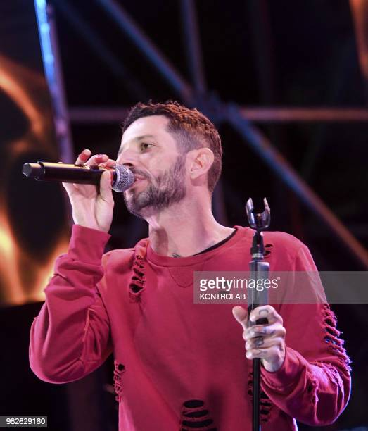 The Italian rapper and songwriter Francesco Tarducci also known as 'Nesli' performing live in Naples city