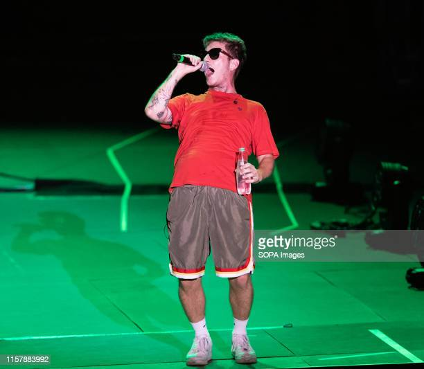 The italian rapper Dani Faiv opens the concert of singer and songwriter Maurizio Pisciottu known as Salmo during the Playlist Summer Tour at Noisy...