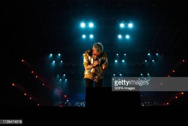 The Italian rapper Salmo aka Maurizio Pisciottu seen performing live at Pala Alpitour in Turin Salmo Music Concert