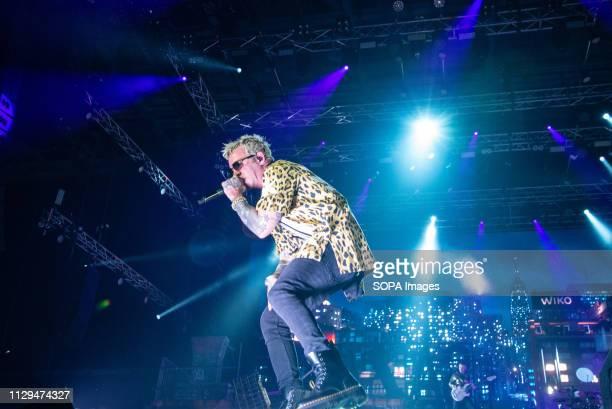 The Italian rapper Salmo, aka Maurizio Pisciottu, seen performing live at Pala Alpitour in Turin, Salmo Music Concert.