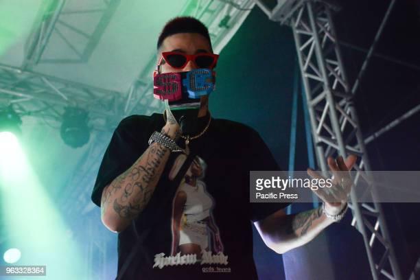The Italian rapper Sfera Ebbasta also know as Gionata Boschetti the 'King of Trap' performing live on stage at Arenile di Bagnoli in Naples Italy for...