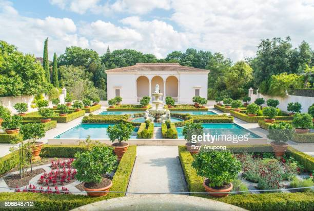 the italian renaissance garden an iconic famous gardens in hamilton gardens of new zealand. - hamilton new zealand stock pictures, royalty-free photos & images