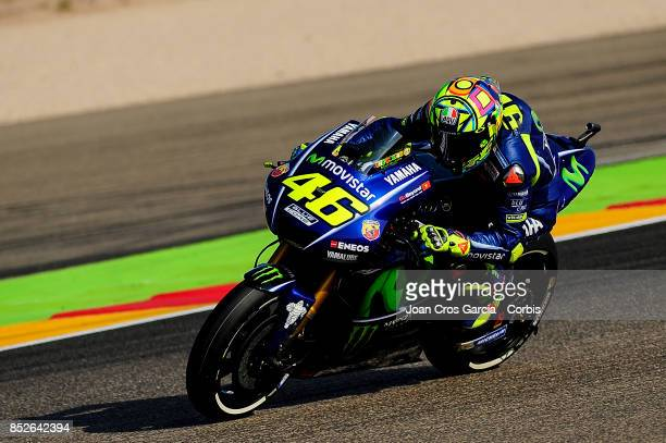 The Italian rider Valentino Rossi of Movistar Yamaha Moto GP, riding his motorcycle during the Gran Premio Movistar de Aragón free practice 3 on...