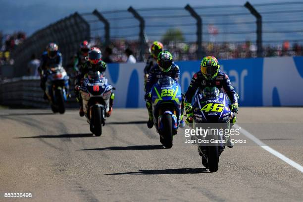 The Italian rider Valentino Rossi of Movistar Yamaha MotoGP going to his box after finish in the 5th palace during the Gran Premio Movistar de Aragón...