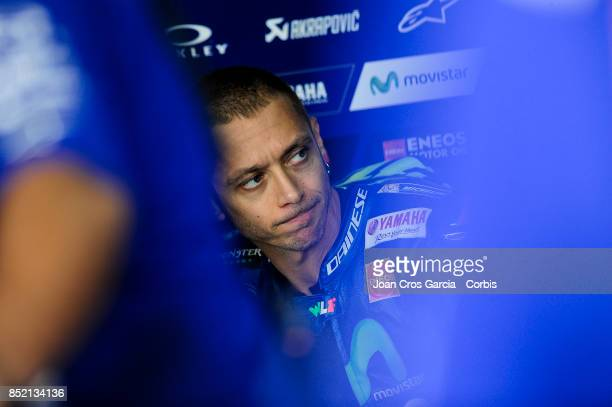 The Italian rider Valentino Rossi of Movistar Yamaha MotoGP inside his box before start the Gran Premio Movistar de Aragón free practice 2 on...