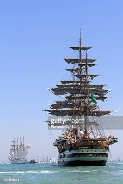 The Italian Sailing Amerigo Vespucci class A of 1931 haunts the Spanish schooner Juan Sebastian de Elcano 1927 takes part in the Gran Regata Cadiz...